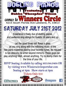 Winners Circle Dueling Piano's Sat July 21st | 863area.com