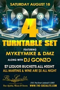 Socialite Saturday - 4 turntable set w/ DJ DMZ, DJ MYKEYMIKE, & DJ GONZO | 863area.com