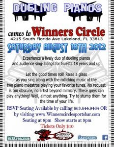 Sat. Aug 18th - Dueling Piano's at Winners Circle Lakeland, FLorida | 863area.com