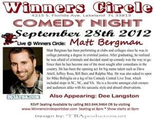 Friday night comedy with Matt Bergman Live at Winners Circle