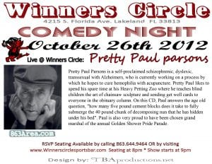 Pretty Paul Parsons Live oct 26th - Winners Circle