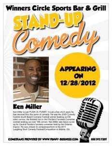 Friday night comedy at Winners Circle Sportsbar w/ Ken Miller & Billy Be