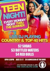 Teen Night every Monday thru Summer at The Socialite hosted by Champions MMA