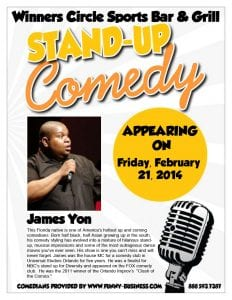 Winners Circle Sports Bar & Grill Presents James Yon