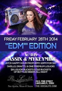 """EDM"" EDITION w/ Dj's Bassix & Mykeymike at The Socialite Feb. 28th, 2014 