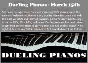 Dueling Piano's Live at Winners Circle - Saturday 3.15