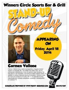 Friday Night comedy with Carmen Vallone & Doug Canney - 4/18 at Winners Circle Sportsbar