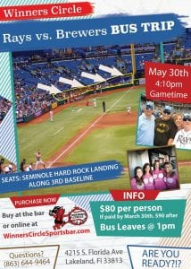 Sports, Baseball, Winners Circle Sportsbar, Kid friendly, Night life, Entertainment, Rays vs Brewers